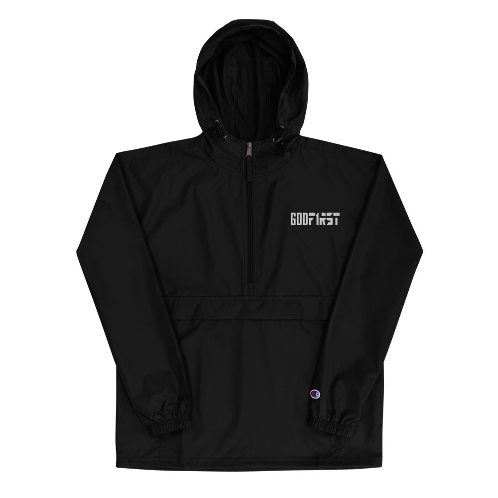 Christian Hoodies Black Champion Jacket with Hood with White Embroidered Design