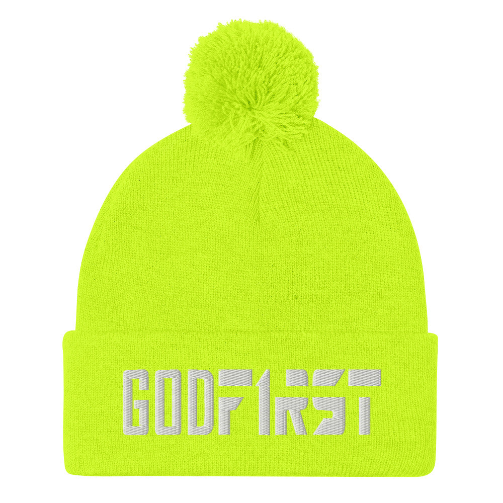 Christian Pom Pom Beanie Neon Yellow with white God First Embroidered design