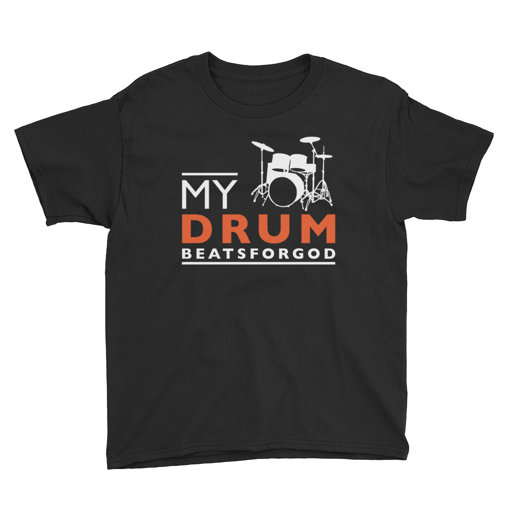 Christian Tees Black My Drum Beats Design Youth Tee
