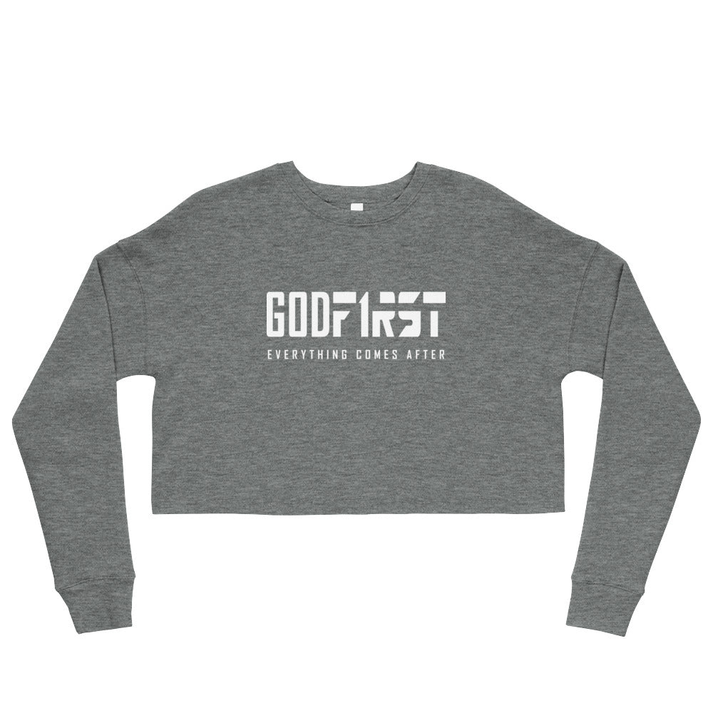 Christian Clothing Grey God First design White Lettering Cropped Sweatshirt