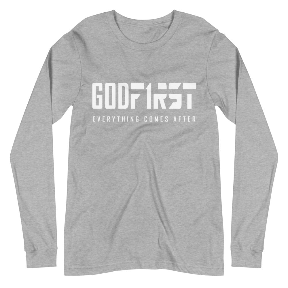 Christian Clothing Grey Long Sleeve Tee God First White Design
