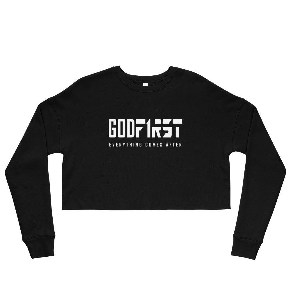 Christian Clothing Black God First design White Lettering Cropped Sweatshirt