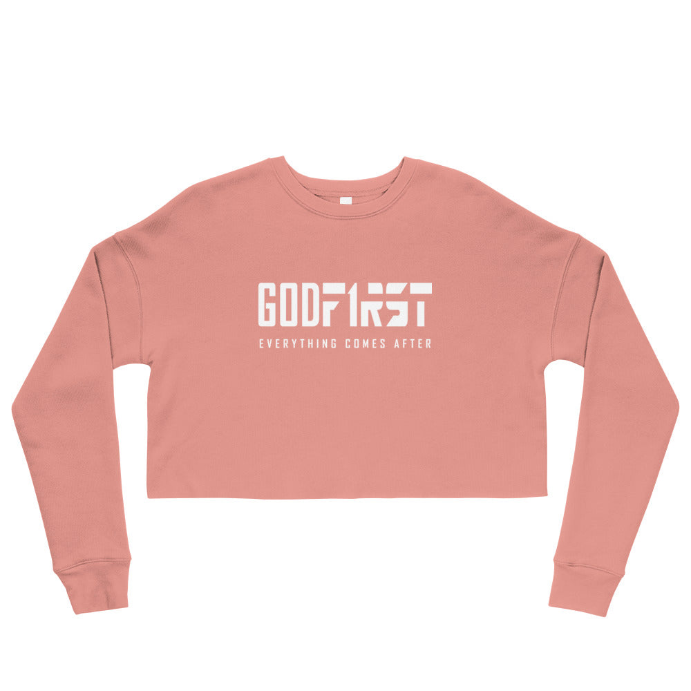 Christian Clothing Mauve God First design White Lettering Cropped Sweatshirt