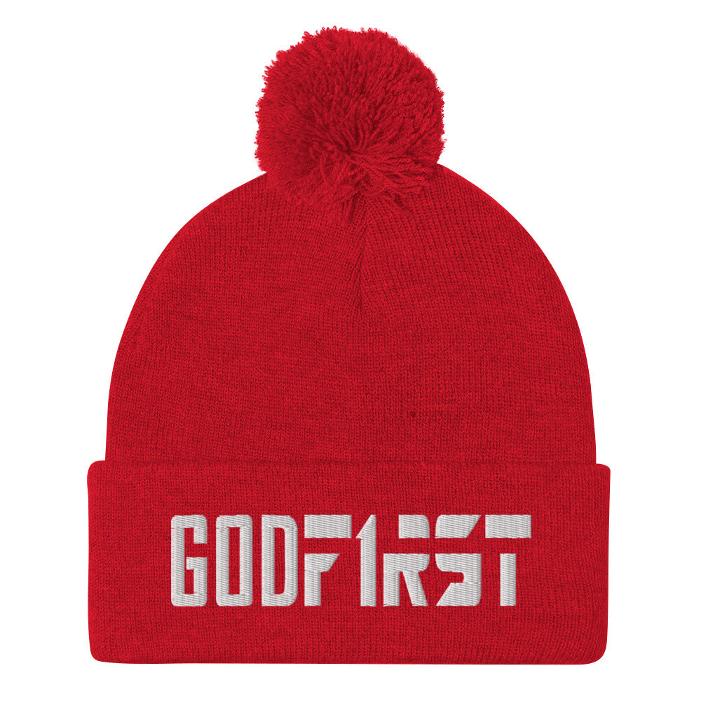 Christian Pom Pom Beanie Red with white God First Embroidered design