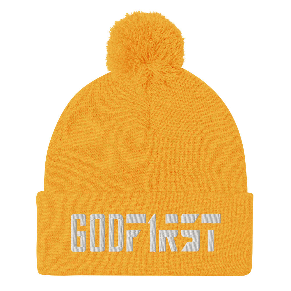 Christian Pom Pom Beanie Gold with white God First Embroidered design