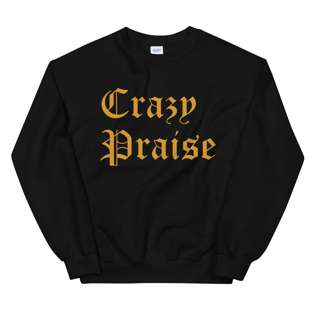 Christian Clothing Black Sweatshirt with Gold Crazy Praise Lettering