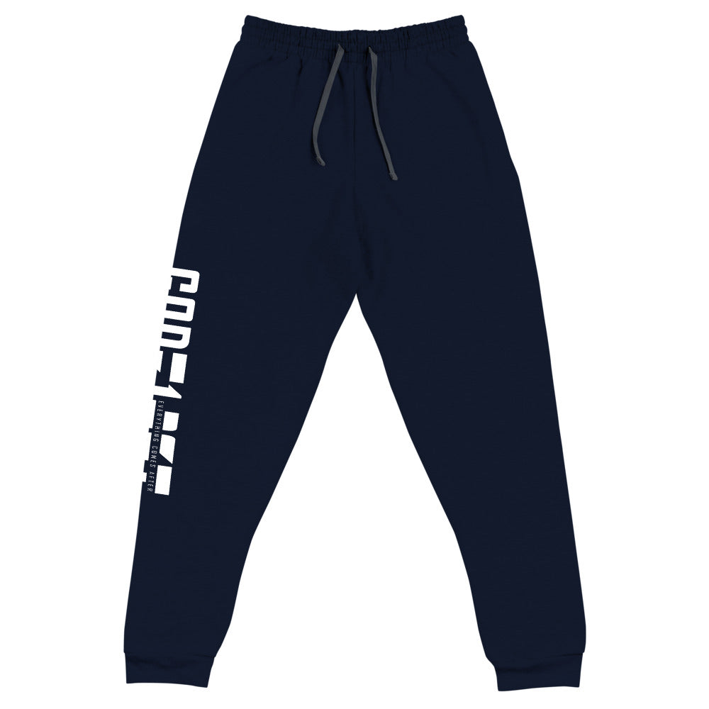 Christian Clothing Rear View Navy Exercise Faith White Lettering Design Joggers