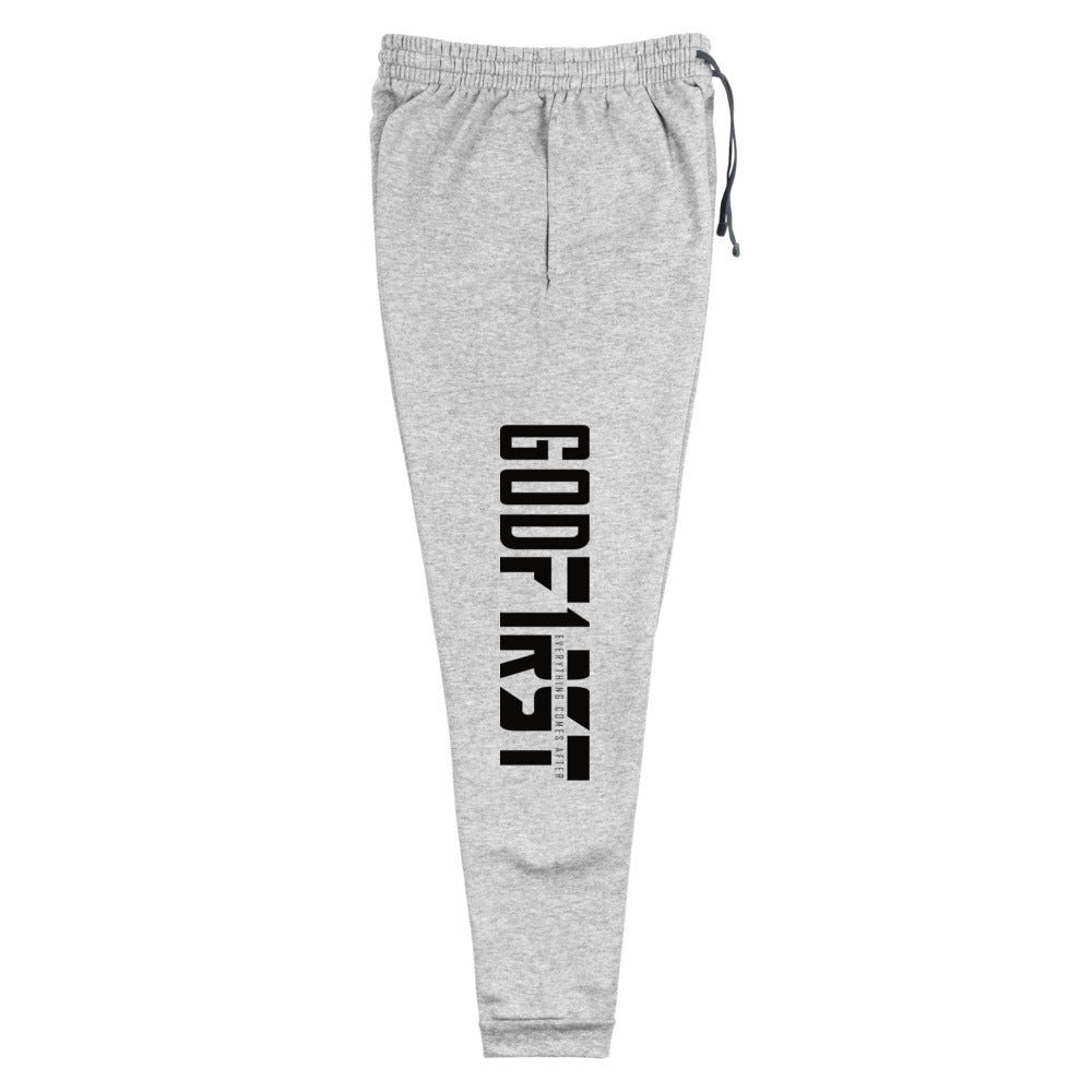 Christian Clothing Grey Exercise Faith Black Lettering Design Joggers