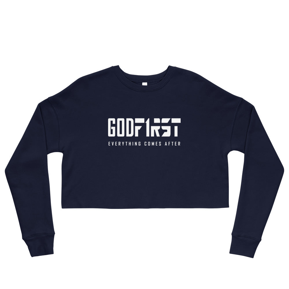 Christian Clothing Navy God First design White Lettering Cropped Sweatshirt