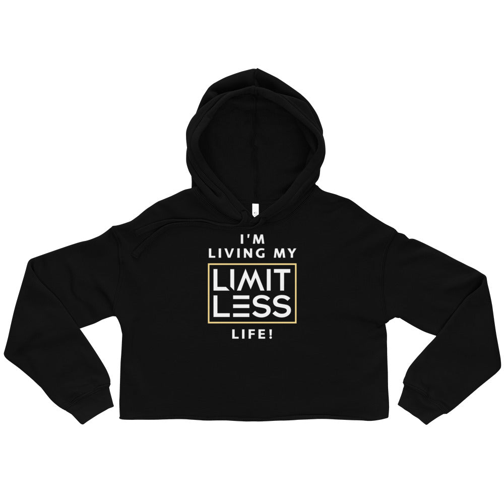 Christian hoodies Black Limitless Life Design Cropped Hoodie