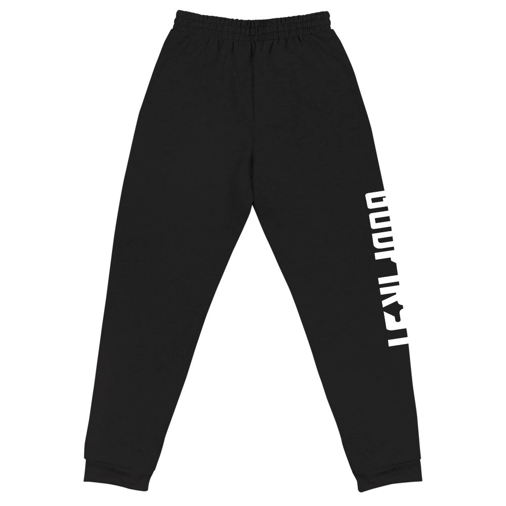 Christian Clothing Front View Black Exercise Faith White Lettering Design Joggers
