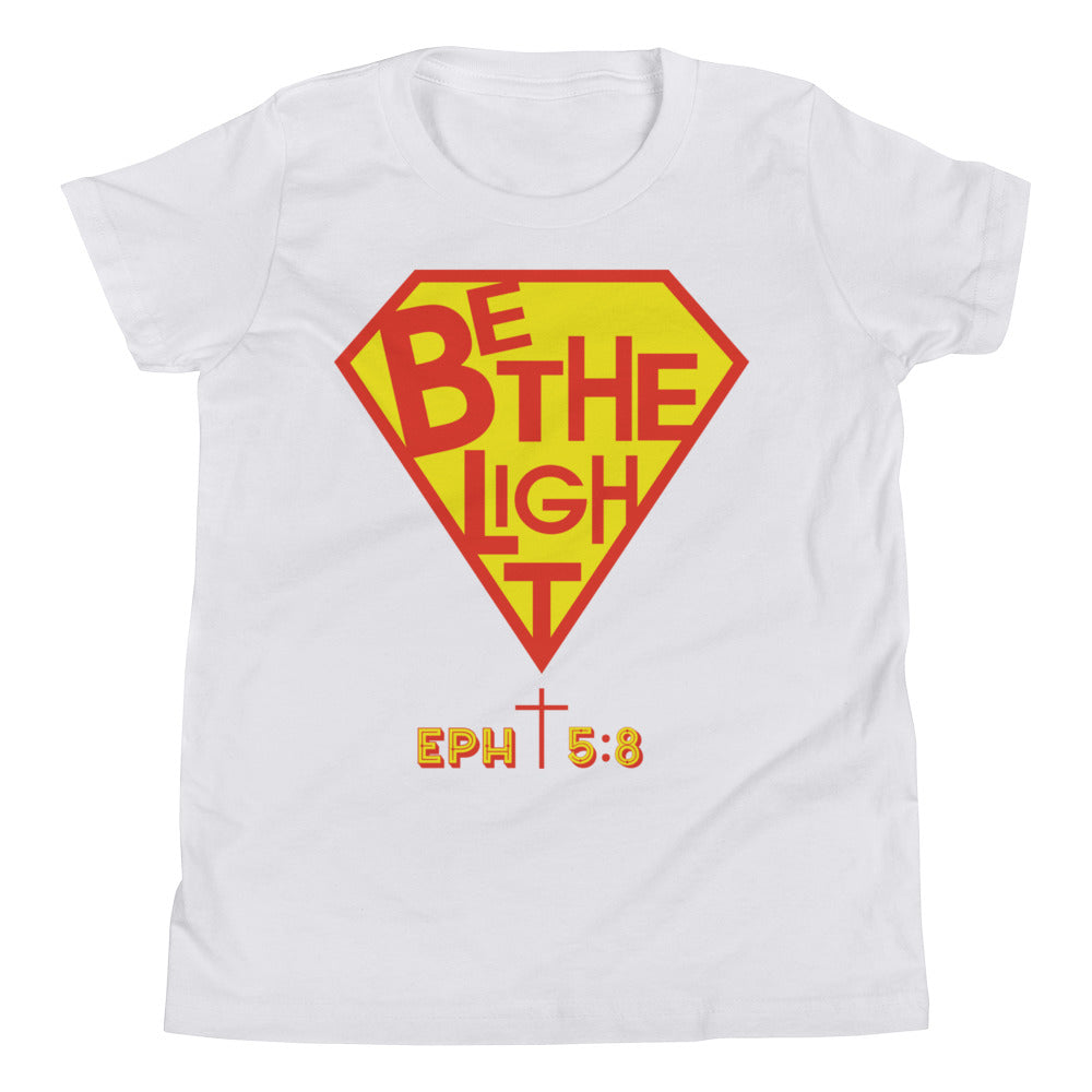 Christian Clothing White Be The Light Design Youth Tee
