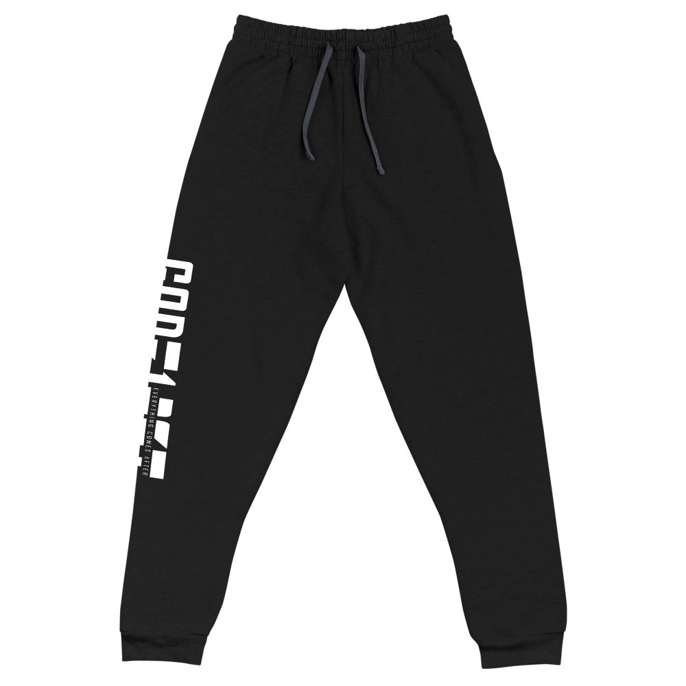 Christian Clothing Rear View Black Exercise Faith White Lettering Design Joggers