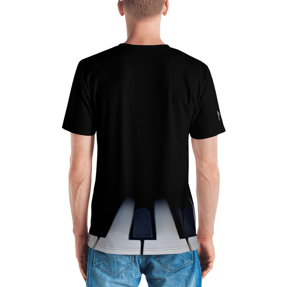 Christian Clothing Black Tee with white Worship Logo and Piano Keys Image Back