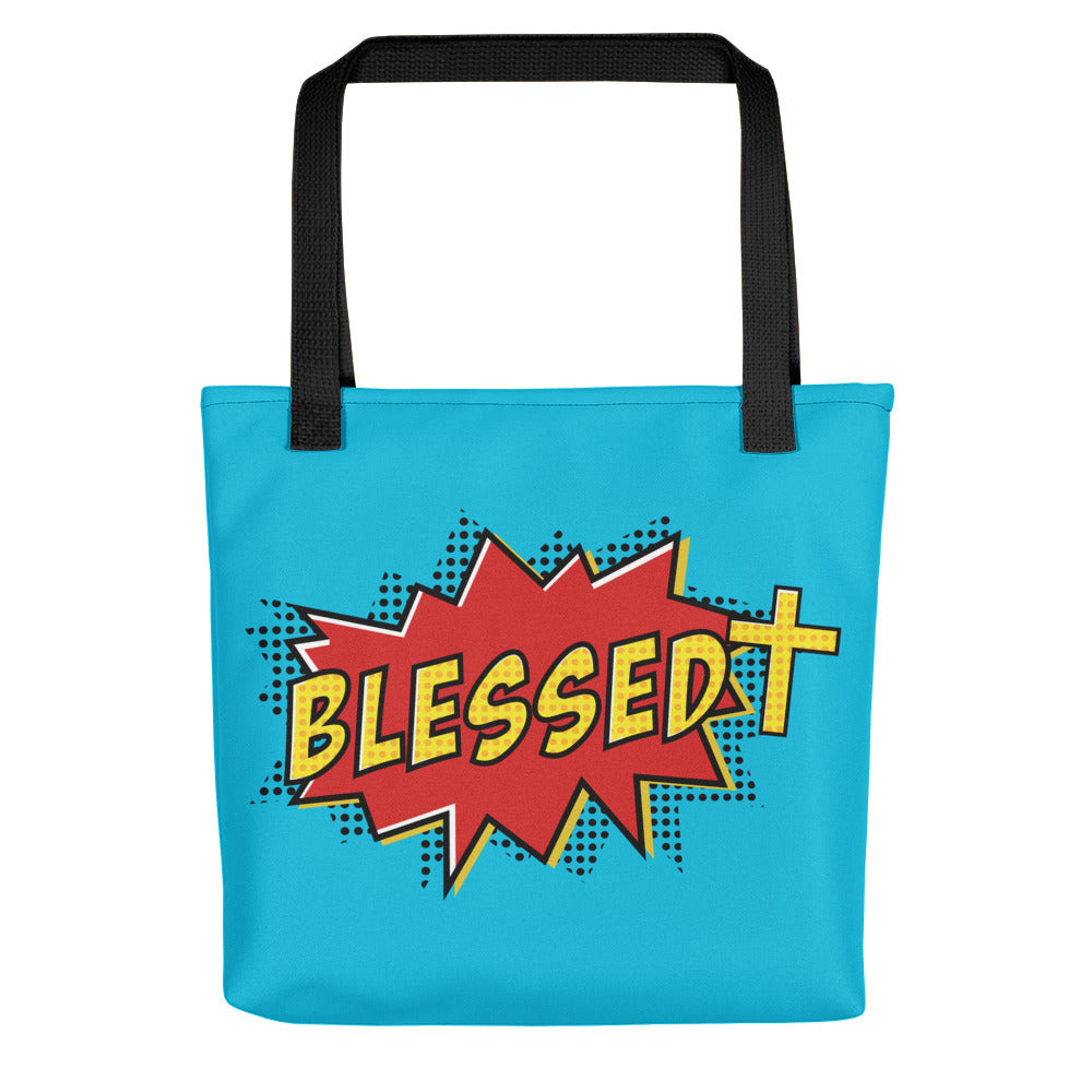 Christian Accessories Blue Blessed Design Tote Bag