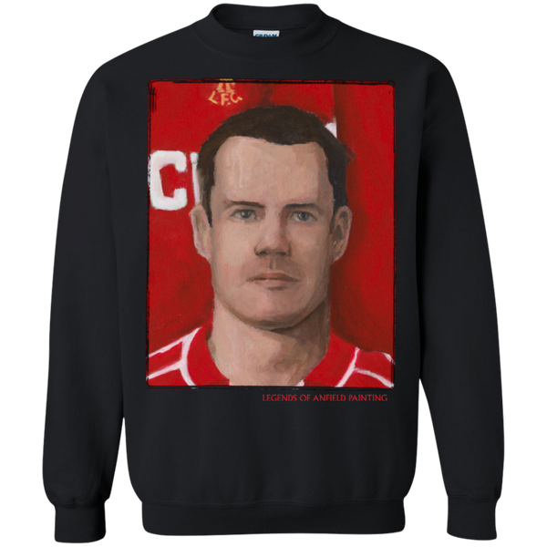 Legends Of Anfield Painting - Jamie Carragher Crewneck Pullover Sweatshirt  8 oz. - Legends of Anfield Painting
