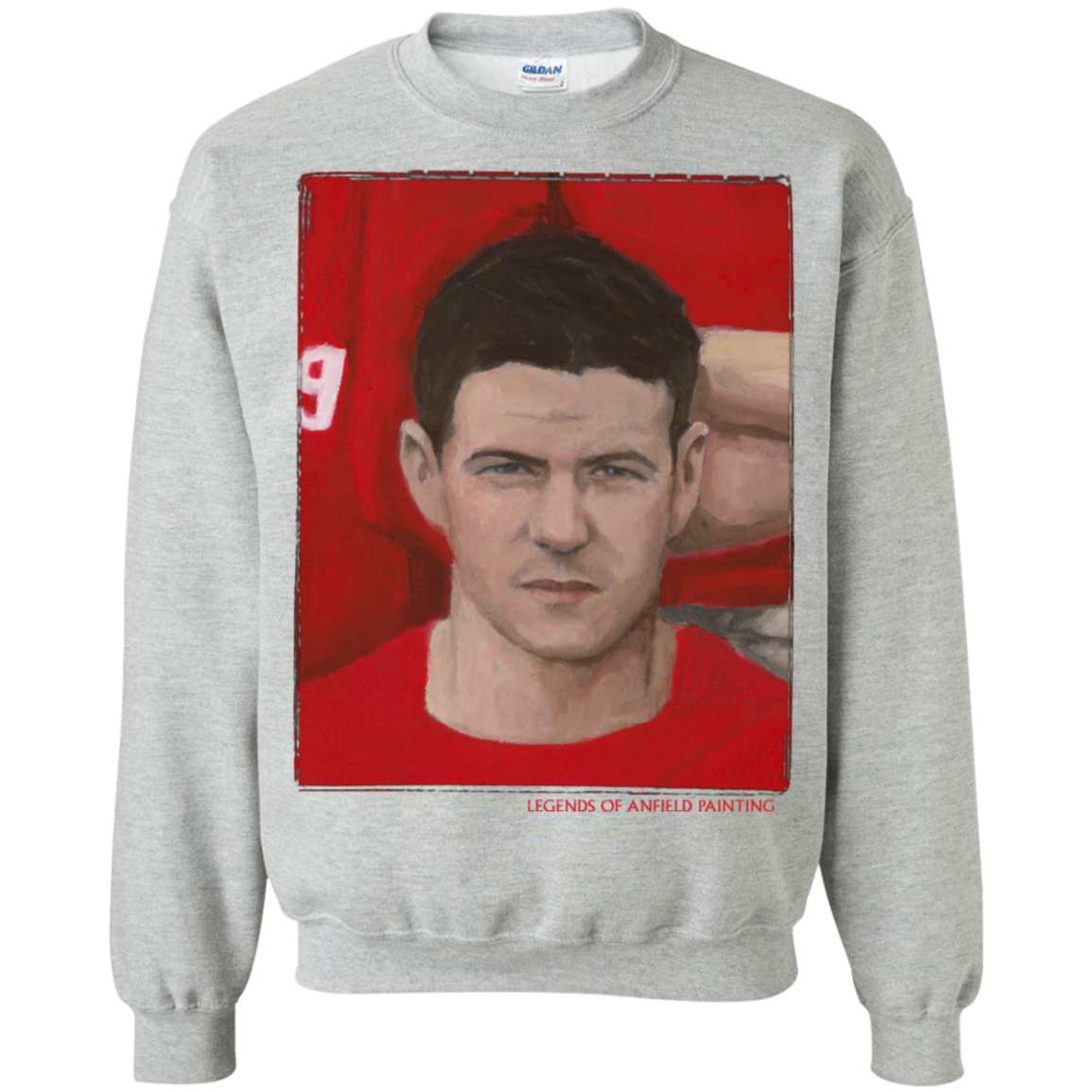 Legends Of Anfield Painting - Steven Gerrard Crewneck Pullover Sweatshirt  8 oz. - Legends of Anfield Painting