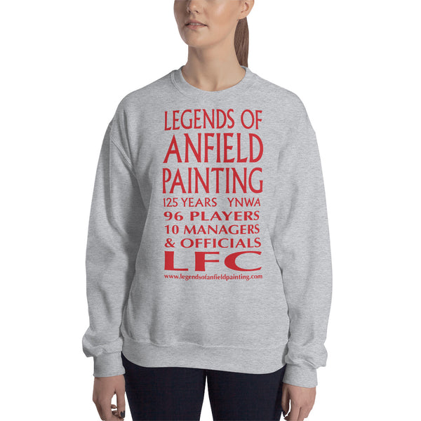 Legends Of Anfield Painting - Short-Sleeve Unisex Sweatshirt with Red Text