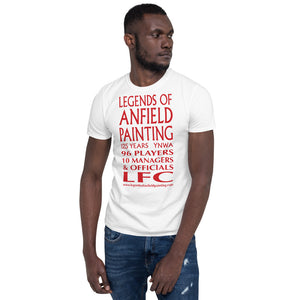 Legends Of Anfield Painting - Short-Sleeve Unisex T-Shirt with Red Text