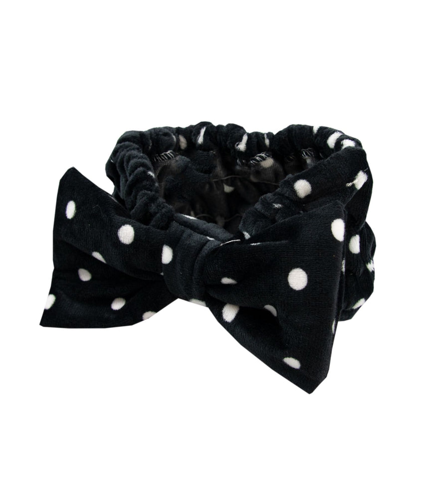 Olive make-up headband black with white polka dots
