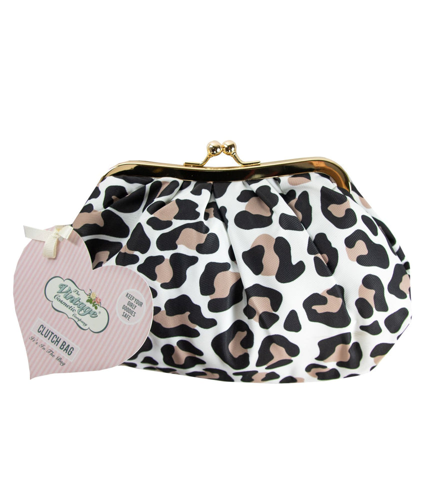 cosmetic clutch bag leopard print with swing tag