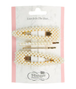 4 Piece Hair Clip Set Diamonds and Pearls