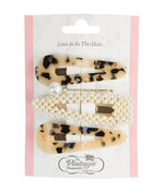 4 Piece Hair Clip Set Tortoise and Pearl