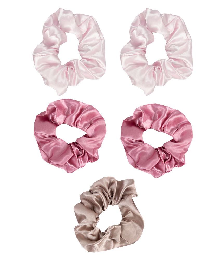 5 Piece Hair Scrunchies Pink