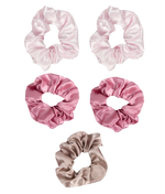 5 piece satin scrunchie set pink