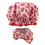 crab and lobster print shower cap and make-up headband