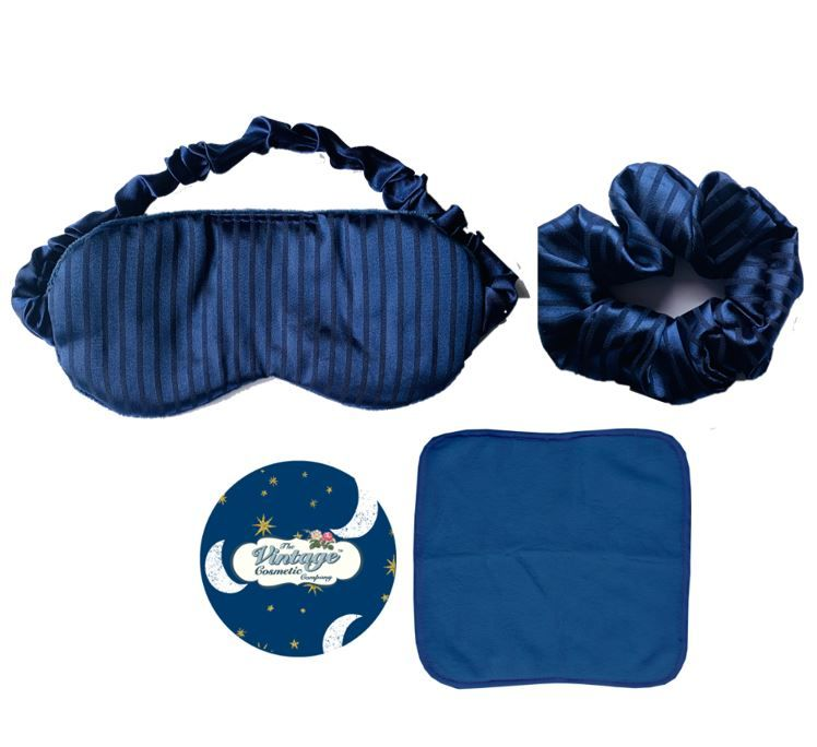 sleep mask scrunchie makeup removing cloth and badge mirror in blue