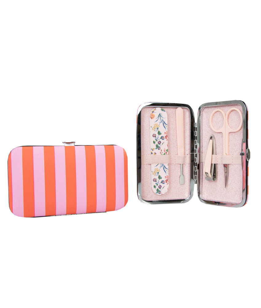 candy stripe manicure purse with nail scissors clippers cuticle pusher and emery board