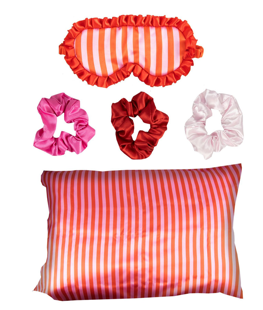 Satin pillowcase sleep mask and scrunchies candy stripe