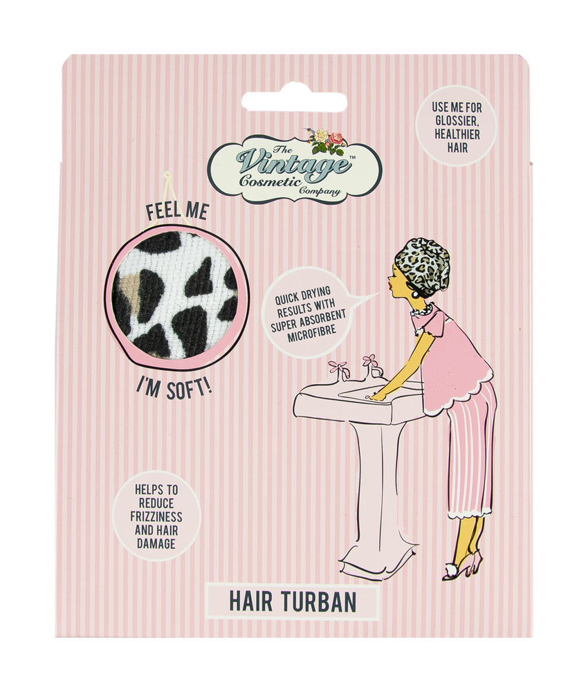 hair turban leopard print in micro fibre packaging