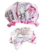 Headband and Shower Cap Set Pink Flamingo