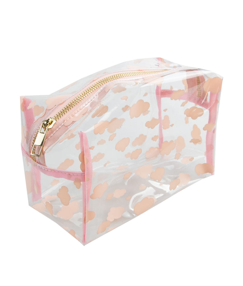 make-up bag with pink clouds