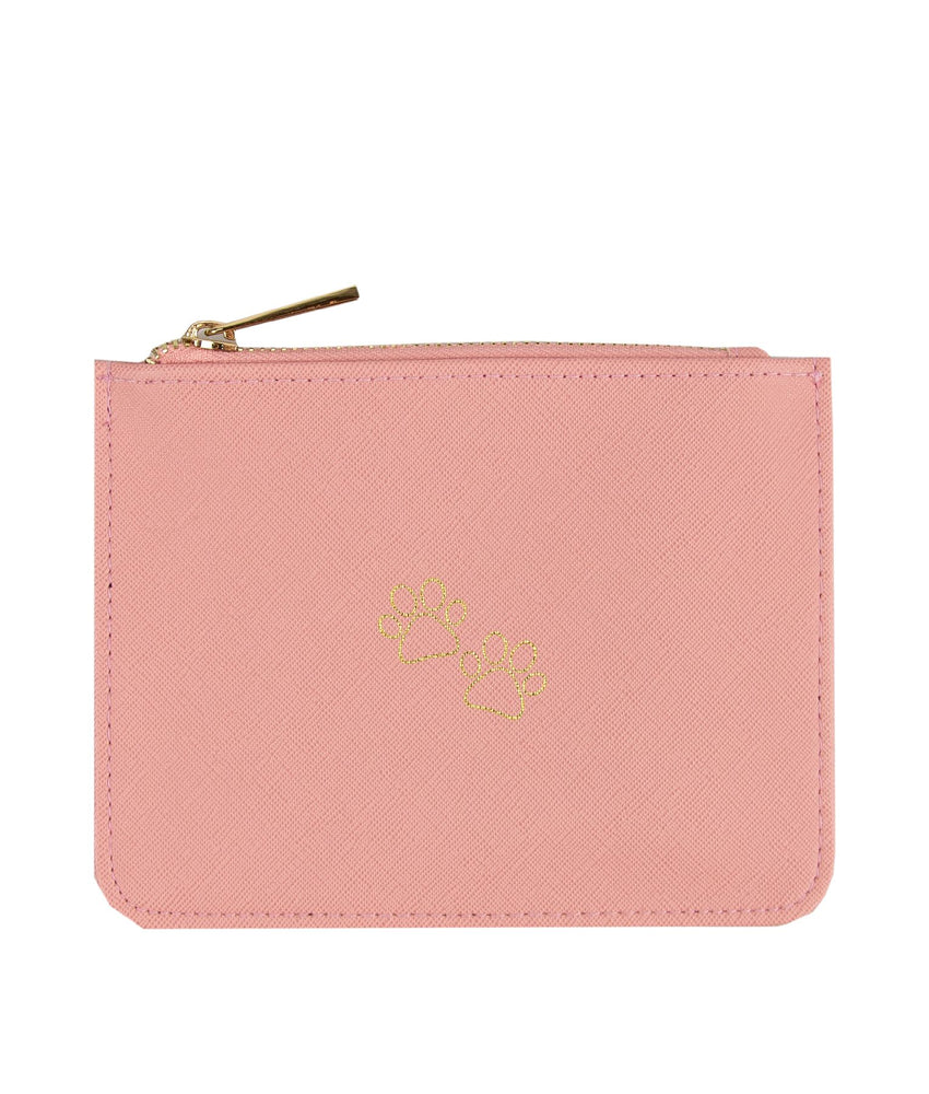 Zip pouch bag in pink back with paw prints