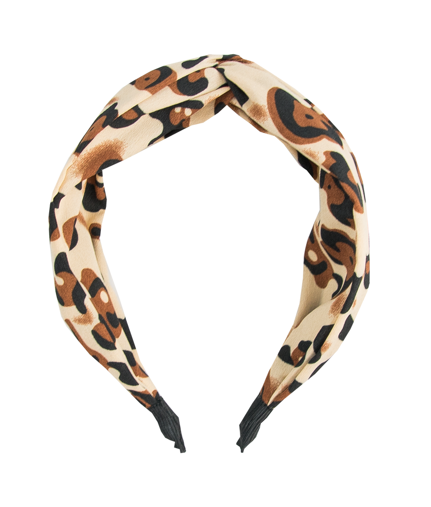 knotted headband in jaguar print