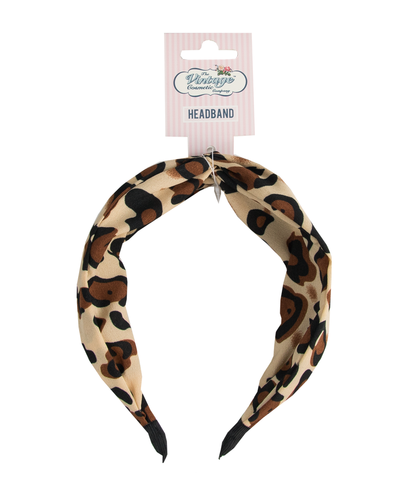 knotted headband in jaguar print packaging