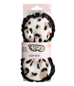 sleep mask in soft leopard print with black lining packaging