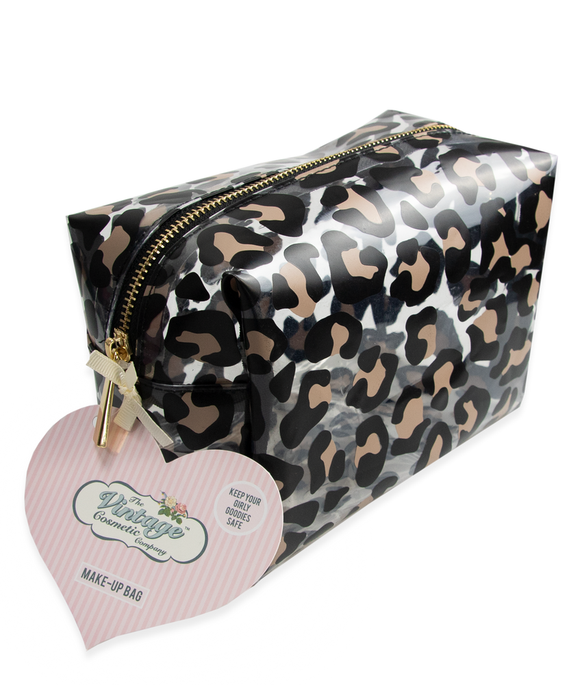 make-up bag in leopard print packaging