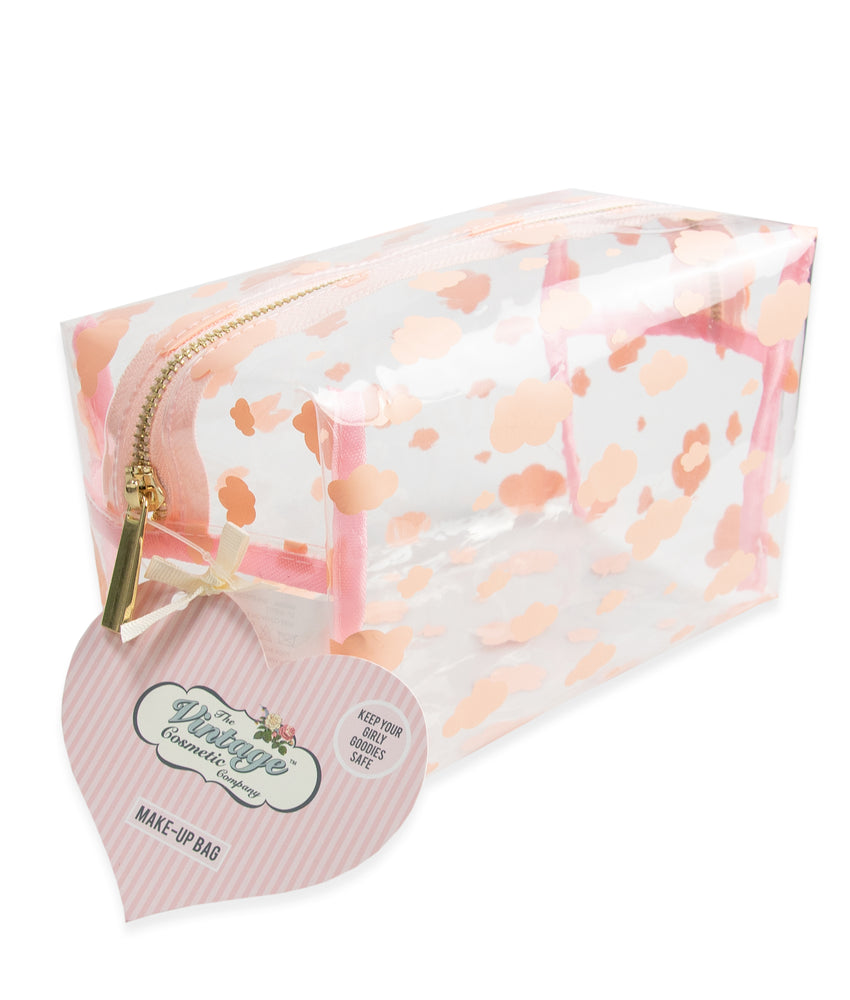 make-up bag with pink clouds packaging