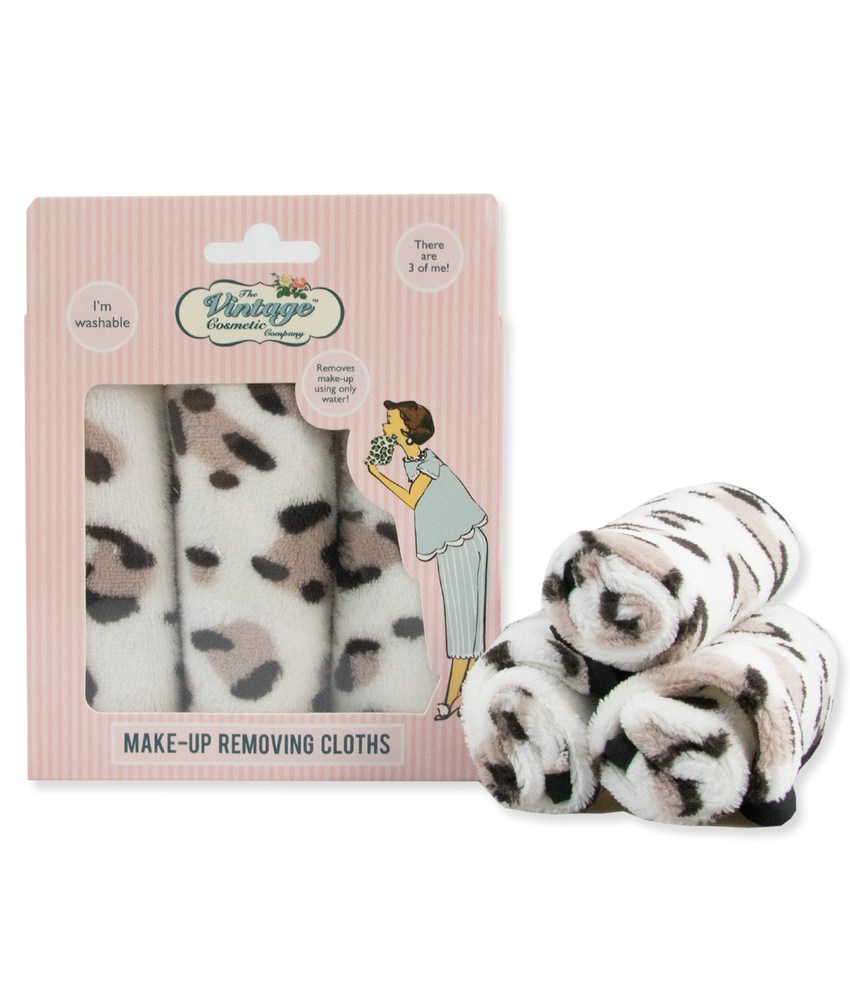 make-up removing cloths leopard print in and out of packaging