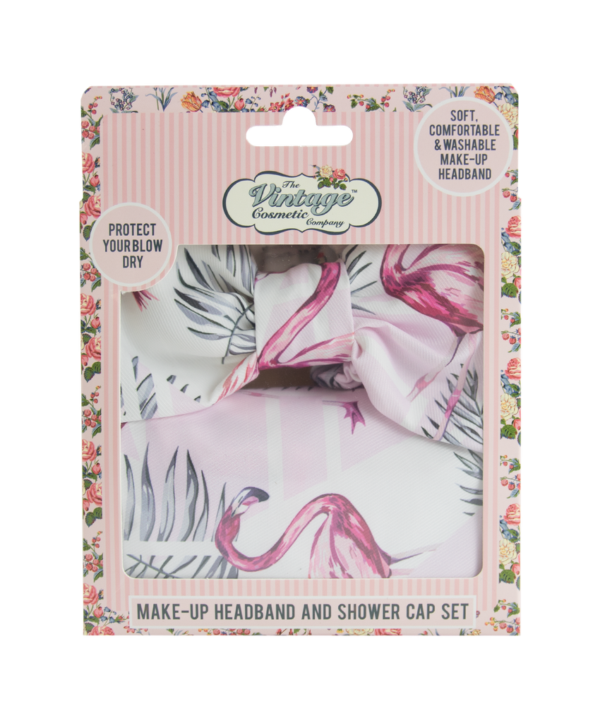 make-up headband and shower cap set in pink flamingo pattern packaging