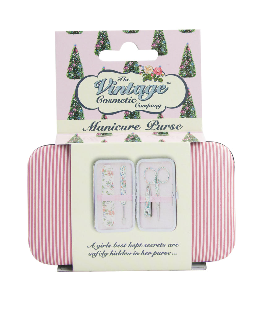 Manicure Purse Pink Stripe in Christmas Packaging