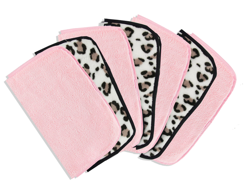 7 make-up removing cloths in pink and leopard print 1 for each day of the week