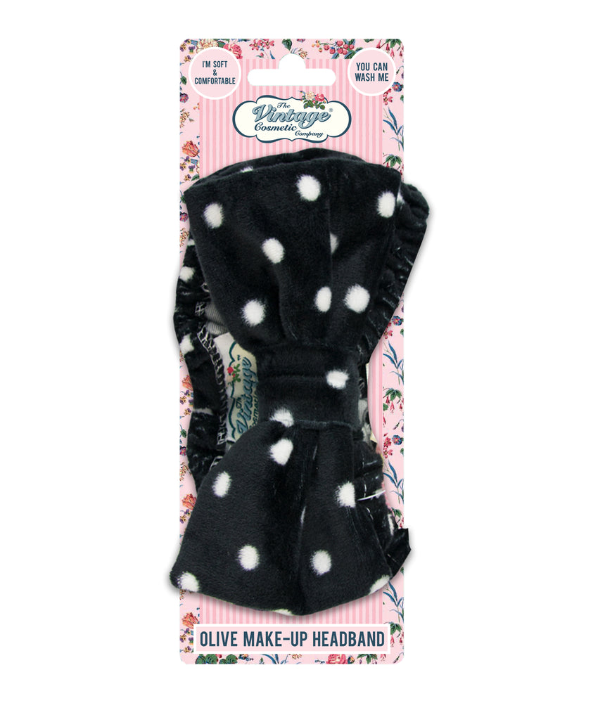 Olive make-up headband black with white polka dots packaging