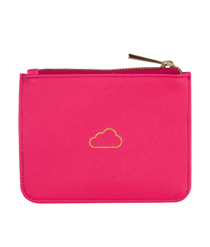 on cloud 9 pink zip pouch bag back