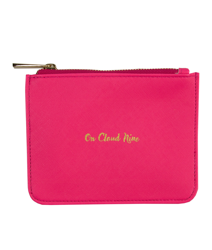 on cloud 9 pink zip pouch bag front