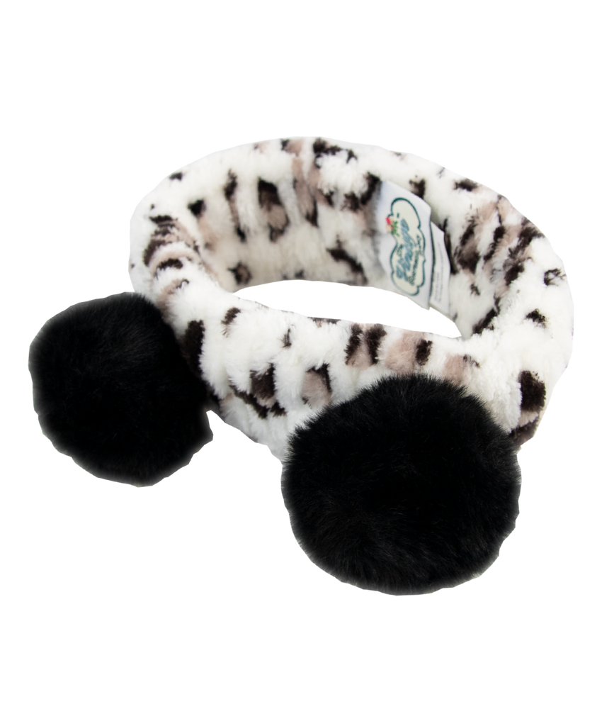 make-up headband in leopard print with black pom poms